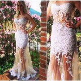 Diyouth 2016 Sleeveless White Lace Custom Formal Evening Dress #LF0021