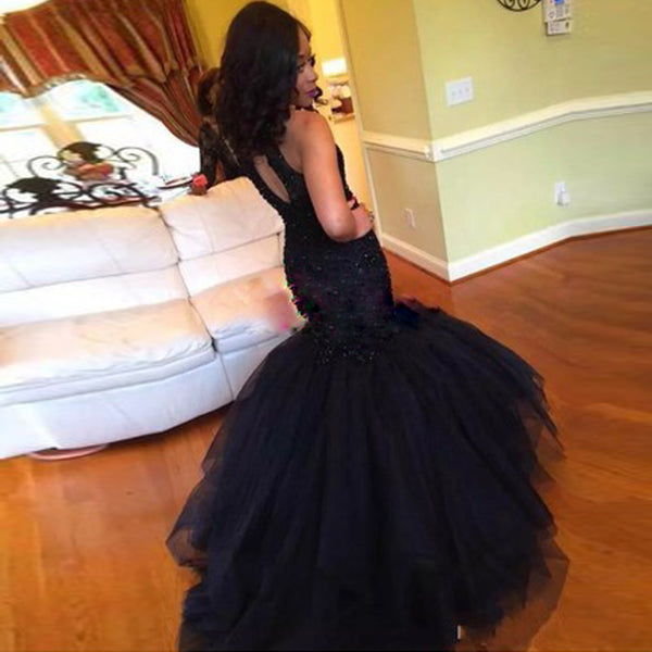 2020 Prom Dresses Sexy Mermaid Long Black Bead Sequin Formal Evening Party Gown #LF0029