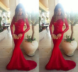 Sexy Mermaid Long Sleeve Red Lace Prom Dresses 2016 #lf0059
