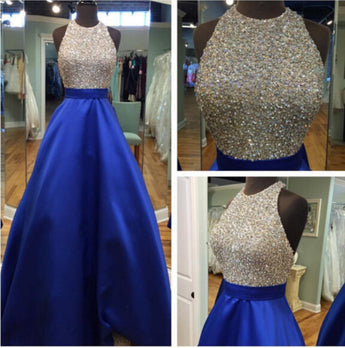 2019 long prom dresse royal blue prom dresses beaded prom dresses #LF0067