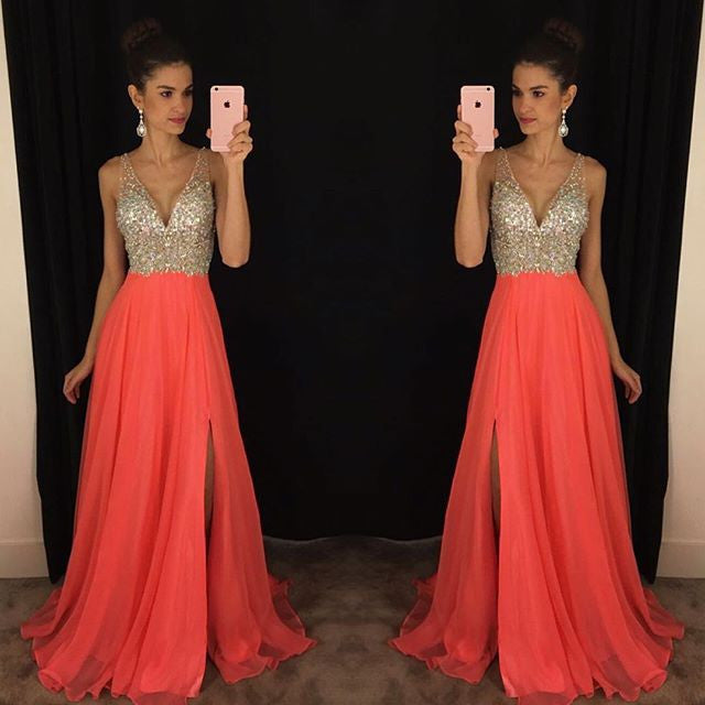 Elegant V-Neck Sleeveless crystal Prom Dresses 2016 Long chiffon Online #LF0084