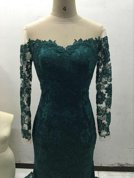 2019 Dark Green Long Sleeve Lace Sheath Evening Gown #LF0087