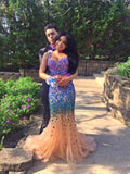 Two Piece Fashion Sweetheart Sparkly Full Length Mermaid Dress #LF0104