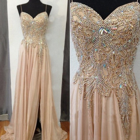 Front Slit Chiffon Beaded Long Prom Dresses Formal Dresses #LF107