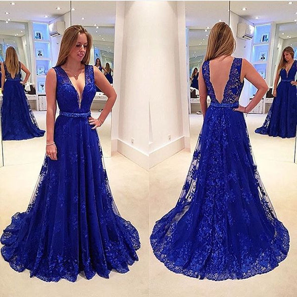 Sexy Backless Royal Blue V neck Long Prom Dresses Evening Gowns LF0120