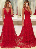 Red Lace Prom Dresses Sexy Sheath Evening Dresses Party Prom Dresses Front Split Prom Dress #LF0126
