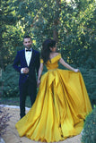 A-Line Elegant Off-the-Shoulder Ruffles Beadings Prom Dresses #LF0169