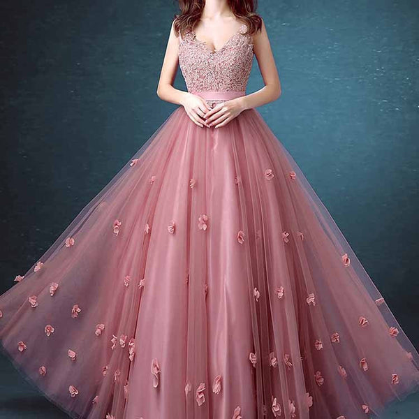 Beaded Long Lace Sleeveless A-line Floral-Appliques Prom Dresses #LF0212