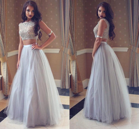 Unique Gray tulle two pieces long prom dress gray evening dress #LF0215