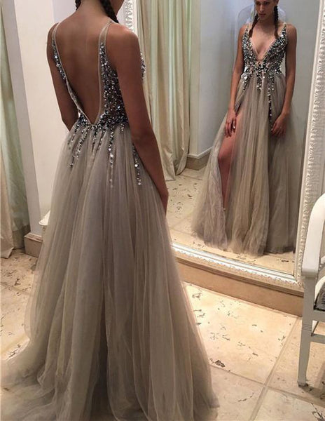 Long Backless Grey Sexy Prom Dresses with Slit Rhinestone See Through Evening Gowns LD1807