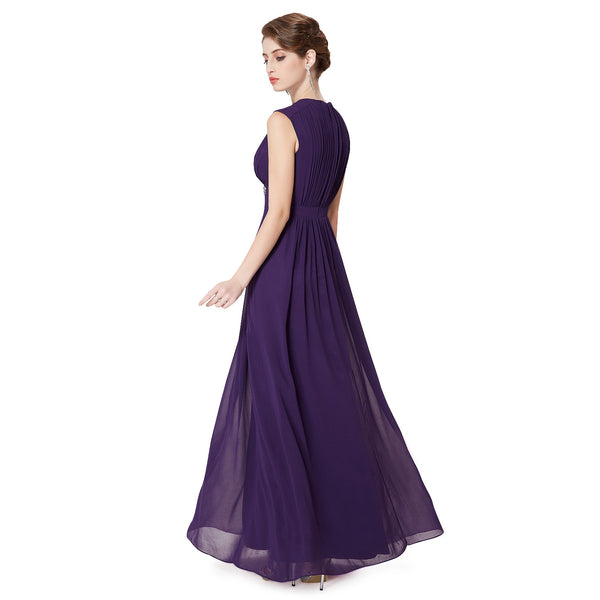 Grape V-Neck Chiffon Sleeveless Bridesmaid Dresses #B048