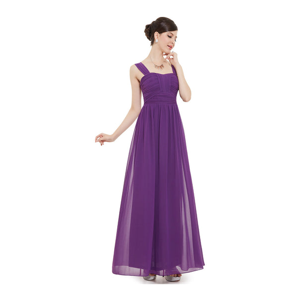 Purple Chiffon Ruched Bodice Floor Length Bridesmaid Dress With Straps #B045