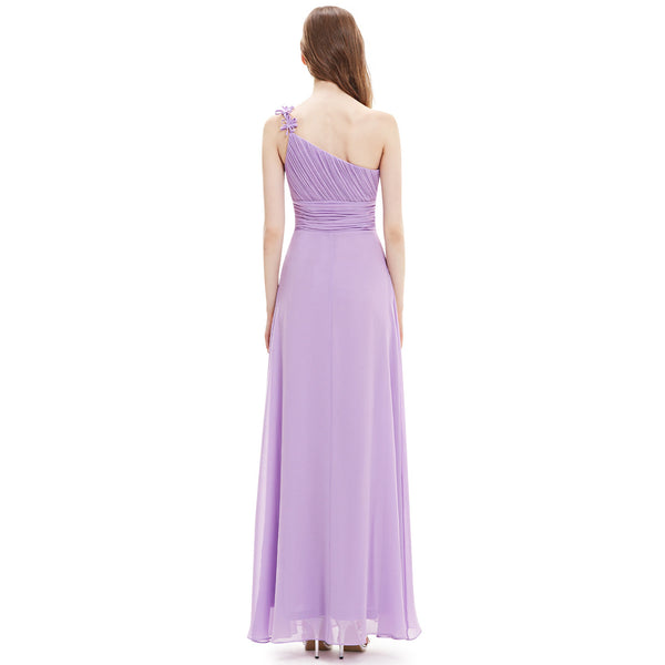 Lilac Flower Strap Chiffon Bridesmaid Dresses With Ruching #B046