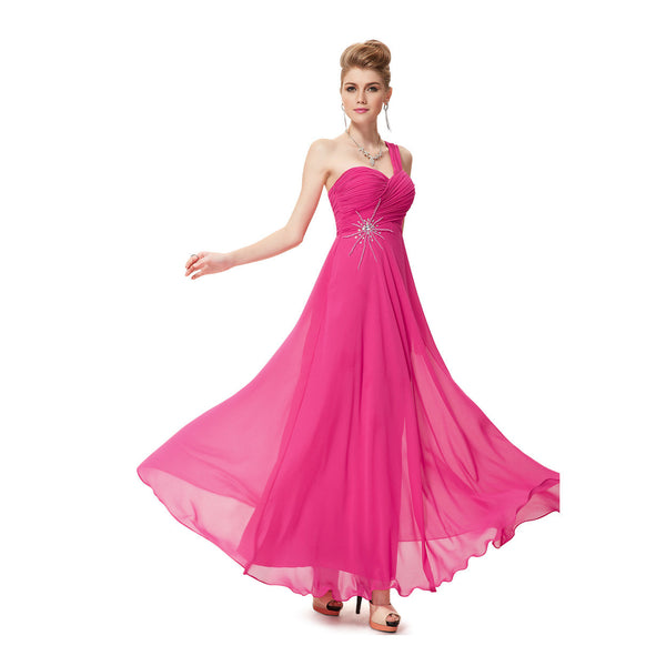 Hot Pink One Shoulder Long Bridesmaid Dress With Beaded #B040
