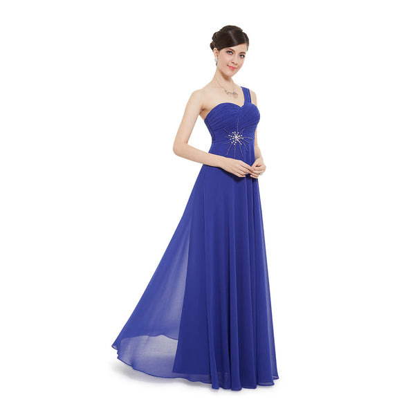 Royal Blue  Long Bridesmaid Dress With Beaded Detail #B039