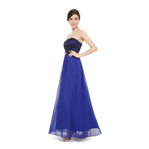 Royal Blue Chiffon Long Bridesmaid Dress With Lace Bodice #B041