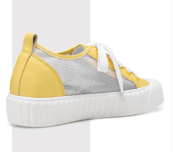 Yellow Height Increasing Woman Tall Shoes Athletic Sports Solid Shoes #W92W159F071D-23