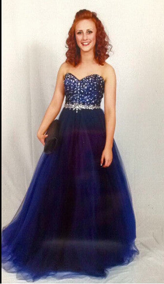 Sweetheart Royal Blue Beading Unique Prom Dresses #XS64
