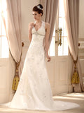 A-line Halter Sweep Brush Train Inexpensive Great Wedding Dresses #SD2406