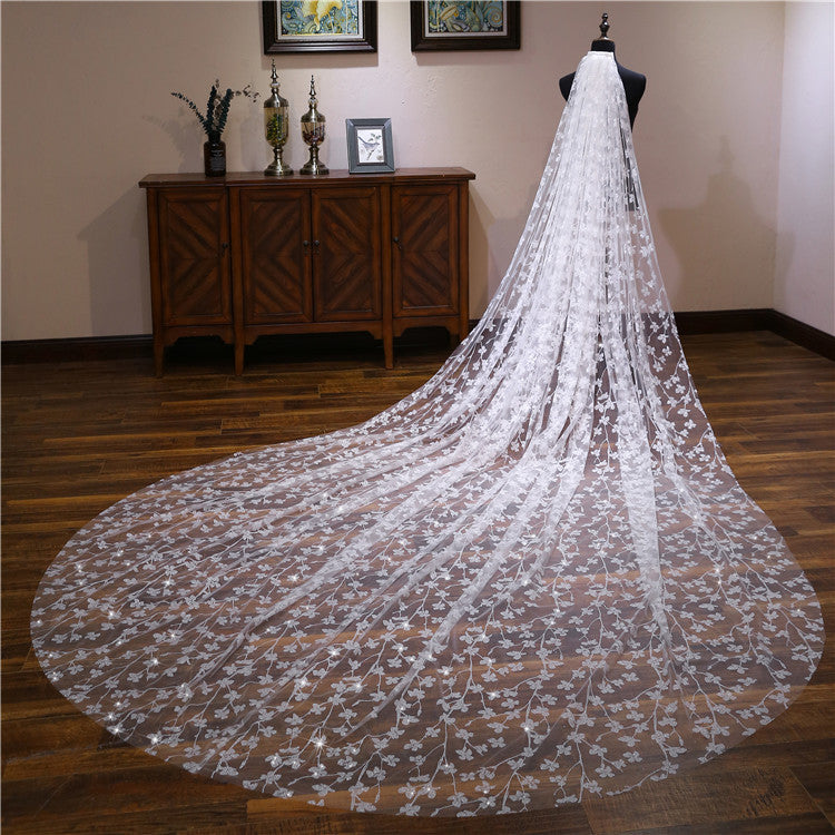 2019 New Arrival Shiny Firework Printed Ivory Wedding Veil Cathedral Train Bridal Veils VE1500