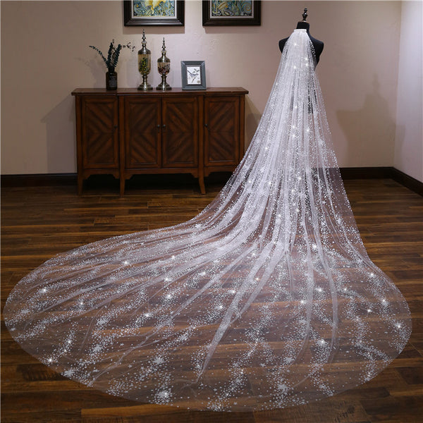 New Arrival Shiny Firework Printed Ivory Wedding Veils Cathedral Train Bridal Veil VE1501