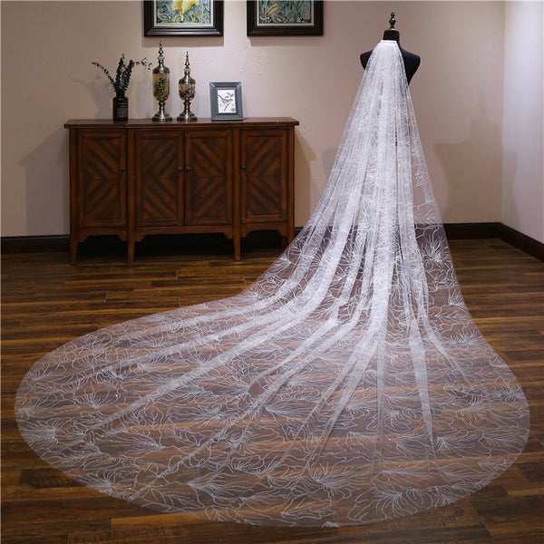New Arrival Chic Firework Printed Ivory Wedding Veil Cathedral Train Accessories Bridal Veils VE1502