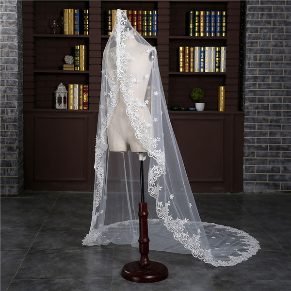 Fashion Lace Appliques Edge Ivory Wedding Veil Long Accessories Bridal Veils VE1503