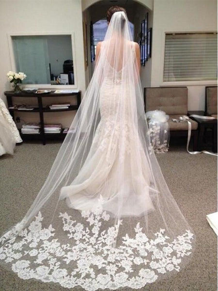 Long Lace Appliques Edge Ivory Wedding Veils Bridal Accessories Veil VE1504