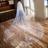 Cathedral Train Lace Appliques Edge White Two Layers Wedding Veils Bridal Accessories Veil VE1505