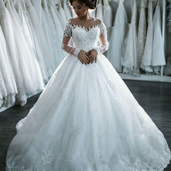Long Sleeves Wedding Dresses, Lace Long Bridal Gowns Wedding Dresses #W034