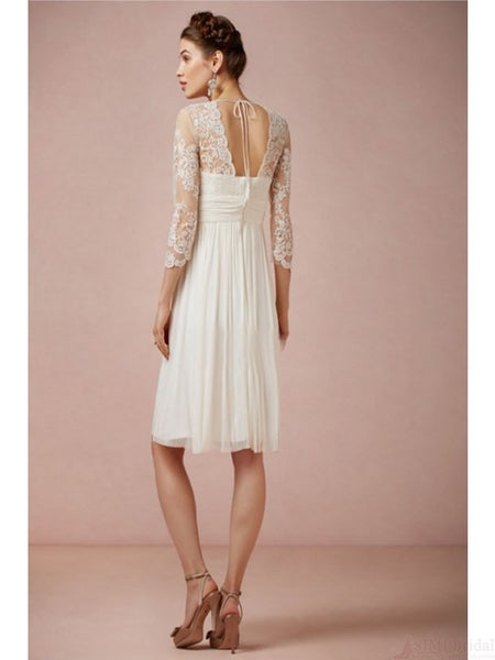 A-line Short Beach Wedding Dresses with Lace #W035