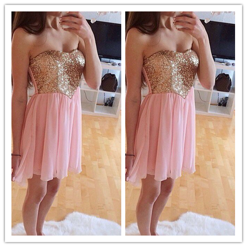 Pink Beading Short Pink Sweet 16 Dress for 2016 #H070
