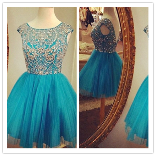Blue Fitted Party Dress Sparkly Cocktail Dress #H021
