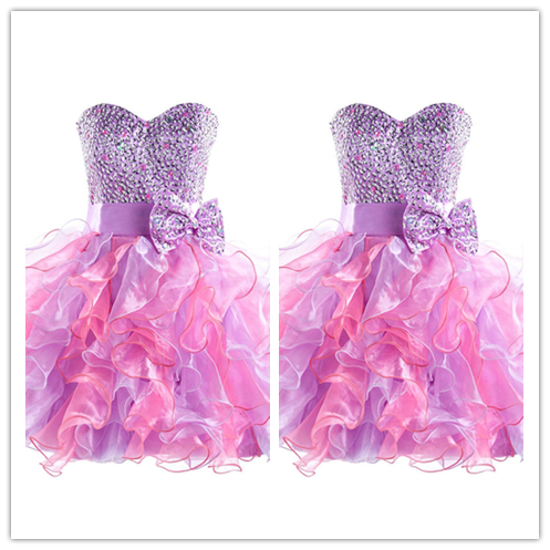 Short Tulle Fitted Beading Homecoming Dresses #H038