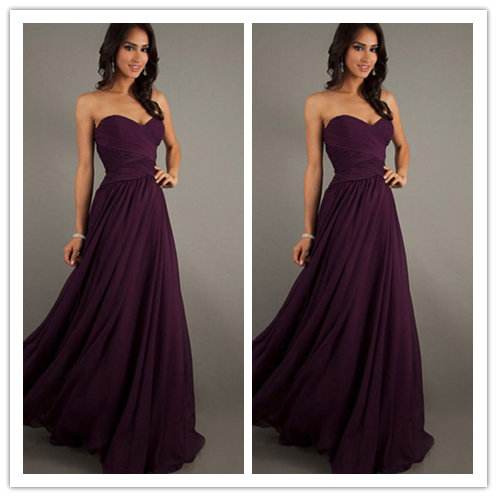 Simple Chiffon Strapless Cheap Long Elegant Bridesmaid dress #B056