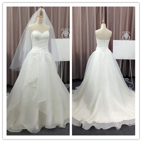 Sweetheart a-line chiffon simple design 2016 wedding dresses #W031