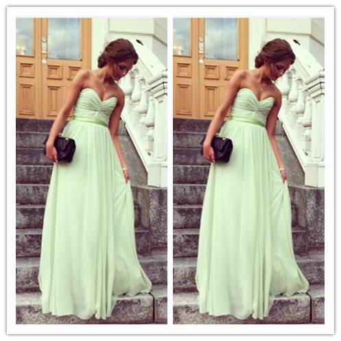 Prom Dress A-line Sweetheart Mint Ruched Chiffon Bridesmaid Dresses #B053