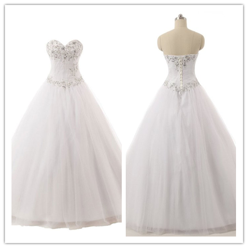 Charming Beaded Ball Gowns Strapless Wedding Dresses #W03