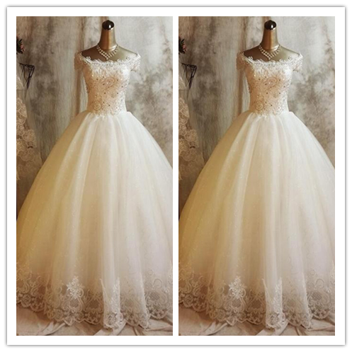 White A-line Off-the-shoulder Floor-length Tulle Wedding Dresses #W041