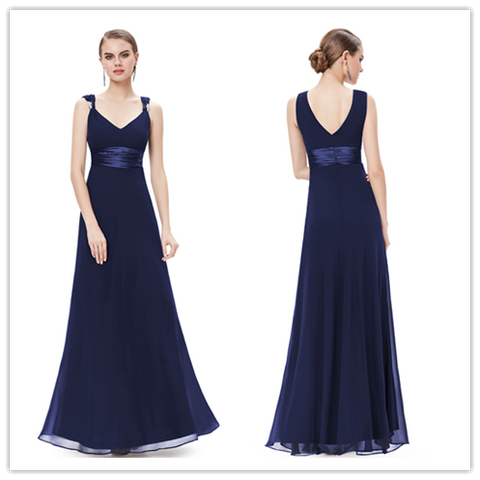 Navy Blue V Neck Chiffon Long Bridesmaid Dresses #B049
