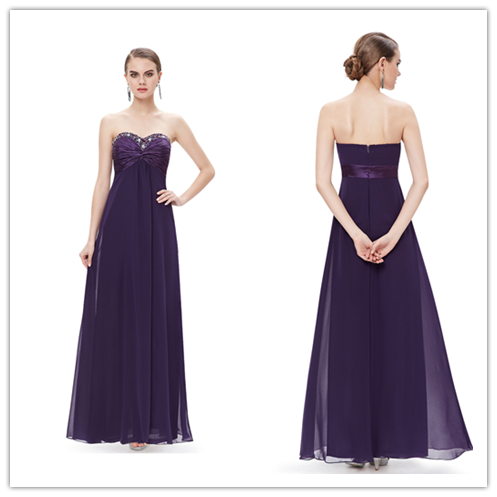 Purple Chiffon Sweetheart Empire Bridesmaid Dresses #B051