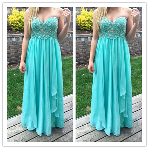 Beading A-Line Real Made Inexpensive Prom Dresses #L58
