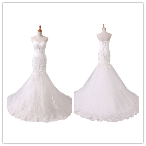 Sweetheart Mermaid White and Ivory Strapless Wedding Gowns #W04