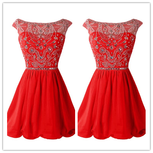 Red Chiffon Short Red Beading Sexy Homecoming  #H053