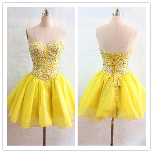 Pink Yellow 2016 Homecoming Dress #H099