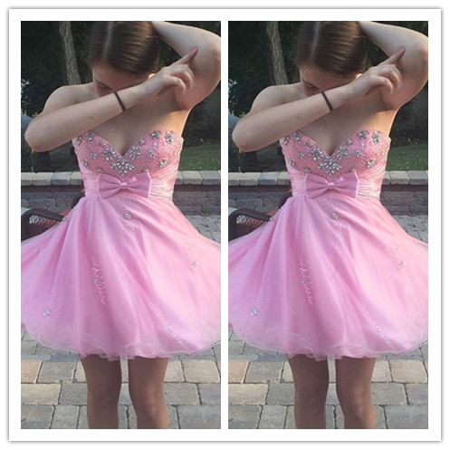 Pink Cute Homecoming Dresses Colorful dress #H073