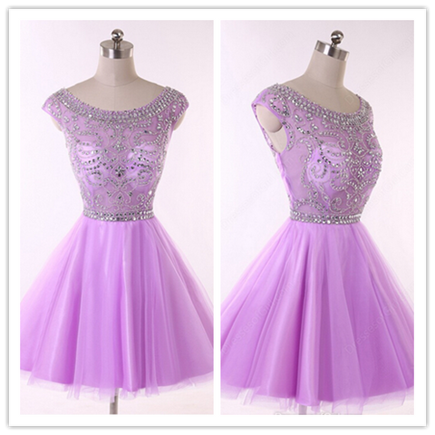 Lilac Tulle Short Prom Gown Lilac Cocktail Dress #H056
