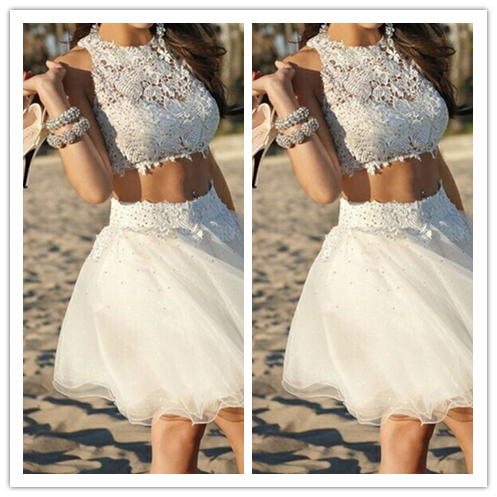 White Tulle 2 Pieces Two Piece Cocktail Dresses #H074