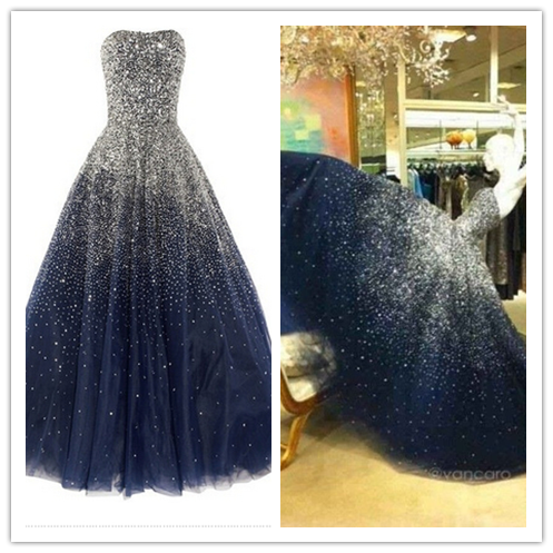 A-Line Beading Real Made Evening Dresses # T26
