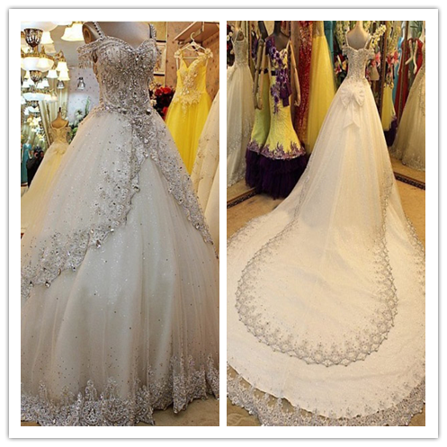 Long princess beading sweetheart lace up back wedding dress #W040